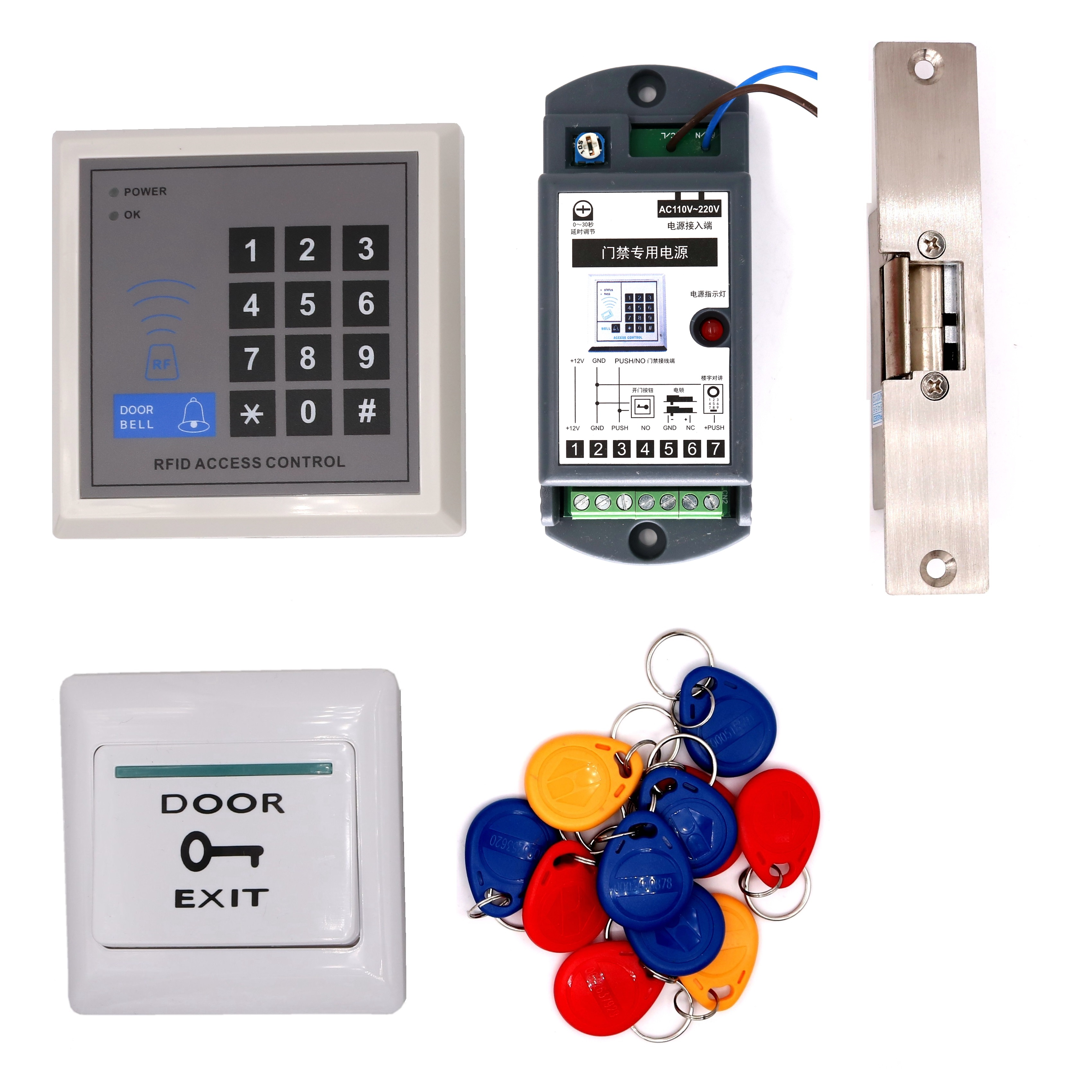 RFID 125Khz Proximity Card Password Entry System Door Gate Access Control system Fail secure Fail Safe Electric Strike Kit<br>