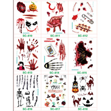 Waterproof Temporary DIY Tattoo Sticker Halloween decoration Realistic Blood Injury Scar Feather Fake Tattoo Sticker Body Art