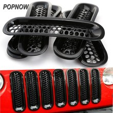 7pcs/set Black ABS Mesh Front Insert Grille Trim Cover kit Car Inserts Racing Grille For Jeep Wrangler JK 2007-2015 #7413