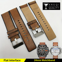 24mm Genuine Calf Leather Flat Retro Watchband Belt For Diesel DZ4343 DZ4383 DZ4280 Old Style Fashion Watch Strap Bracelets(China)