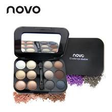 NOVO Brand 12 Colors Shining Matte Nude Eyeshadow Palette With Brush Eye Shadow Primer Pallete Set Makeup Beauty Make Up(China)