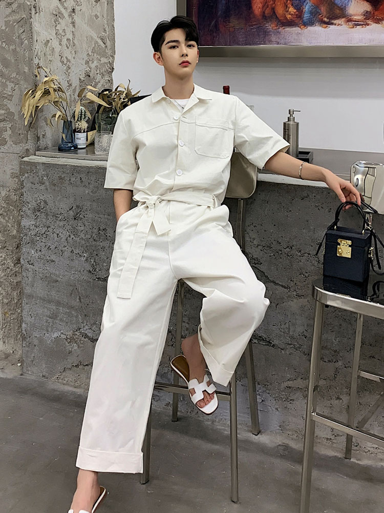 Mens Shirt Shirt Mens Loose Leisure Mens Overalls Fashion Trend in Spring