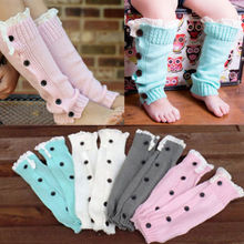 NEW Cute Baby Girl Infant Toddler Cotton Knitted Lace Buttons Leggings Warmer Leg Warmers Long Socks Arm Leg Warmers Outwear(China)