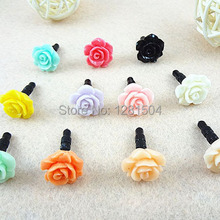 Wholesale Rose Dust Plug For Iphone Dust Cap For 3.5mm Plug Mobile Phone Free Shipping 1500pcs