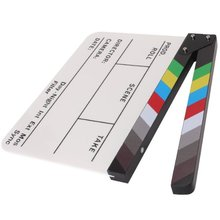 Brand New Colorful Clapperboard Clapper Board Acrylic Dry Erase Director TV Movie Film Action Slate Clap Handmade Cut Prop