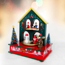 1pcs/lot  Christmas Decoration For Home Wood Crafts Music Box Chritmas Gift For Children Merry Christmas