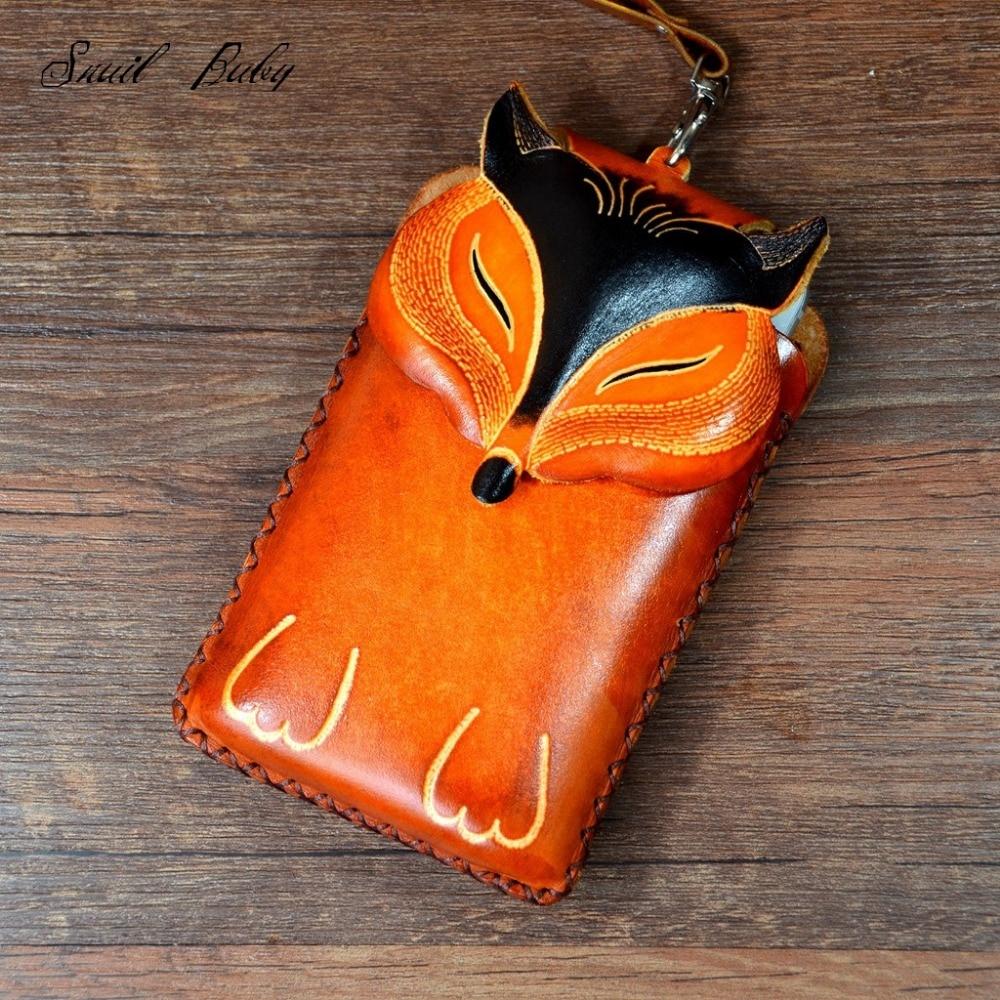 Handmade genuine Leather Satchel Bag female messenger bag cowhide leather animal fox cartoon handbag<br>