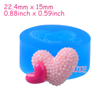 PYL691U 22.4mm Double Hearts Silicone Mold - Heart Mould Cupake Topper, Fondant, Cabochon, Polymer Clay, Candy, Resin Jewelry(China)