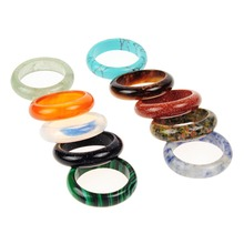 seven chakra Fashion Random Mixed Color 6*18mm Gem Natural Stone Rings Bague Men Ring Malachite For Jewelry Making 6pcs