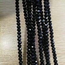 Black Colour 3MM 4MM Faceted Crystal Glitter Rondelle Beads Trimming Strass Bracelet ,DIY pendant