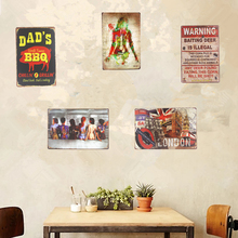 Shabby chic Vintage Metal Tin Signs Pin up Dad's BBQ Car Garage Bar Restaurant Coffee Cafe Shop Home Wall Decor