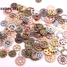 SWEET BELL Mix 100 pcs 7 color Steampunk Charms Gear Pendant Antique bronze DIY Metal Jewelry Making D0352-2(China)