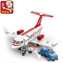 New SLUBAN city series the Airport VIP Service model Building Blocks set Classic private plane Toys for children