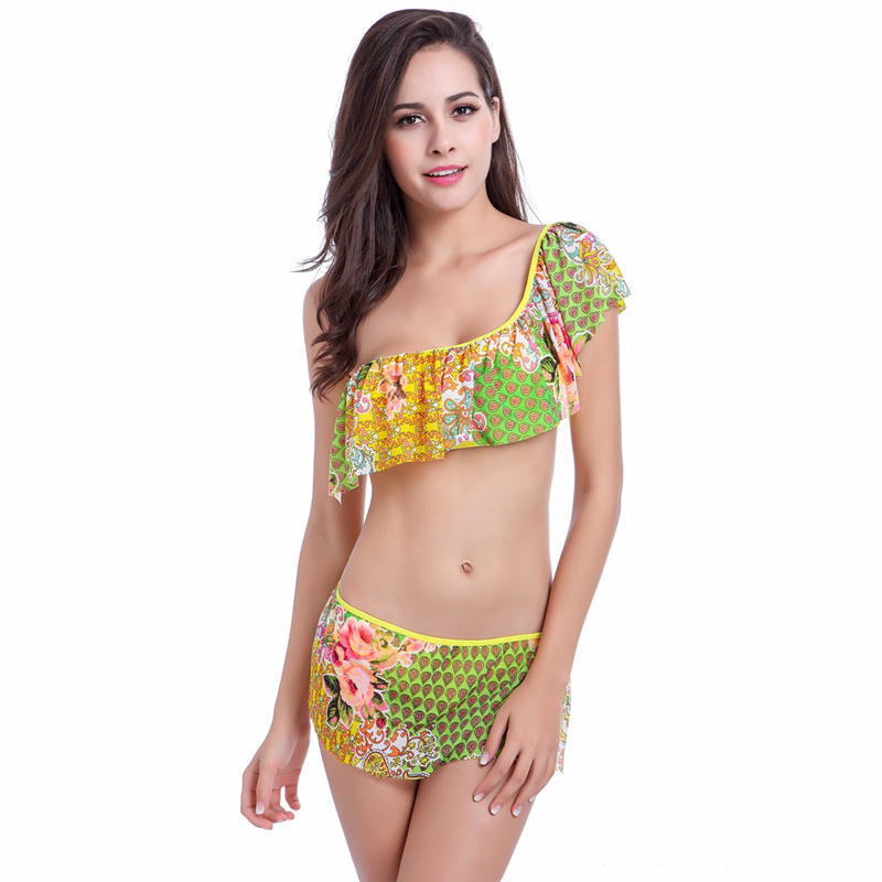 Plus Size Triangle Bandage Biquini 2017 Beach Halter Women Sexy Push Up Print Monokini Bikini Top String High Waist Swimwear <br><br>Aliexpress