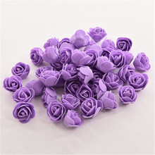 50 PCS Mini PE Foam Rose Artificial Flowers Wedding Car Decoration DIY Pompom Wreath Decorative Valentine's day Fake Flowers New