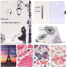 Cute Cartoon Butterfly Lovers Flower Girl Stand Flip Leather Fundas Case For Samsung Galaxy Tab A 8.0″ T355 T350 Tablet Cover