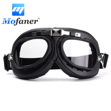 Windproof Motorcycle Bike Flying Goggle Glasses Anti-UV Motorbike Helmet Glasses For Harley Cafe Racer Protector ABS PC lens(China)