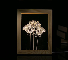 Creative Rose 3D Frame Night Light LED Wood Art Acrylic Table Lamp EU/US Plug Lovers Gift Hotel Bedroom Home Decoration Lighting(China)
