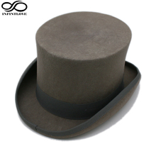 LUCKYLIANJI 13.5cm 4 Sizes Gray Steampunk Victorian Formal Top Wool Felt Vintage Magician Fedoras Lincoln President Bowler Hat(China)