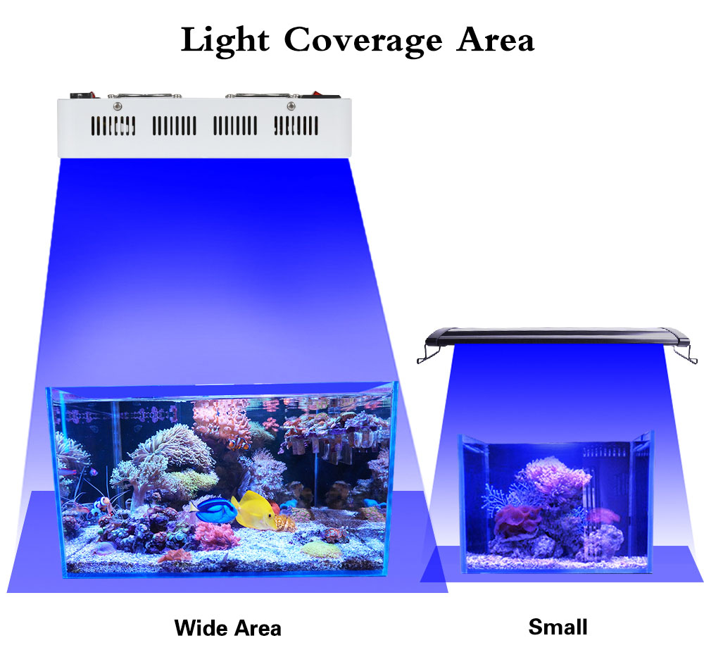 LED Aquarium Light 180W Series Dimmable Full Spectrum For Coral Reef Grow For Plants Fish Tank Aquarium Decorations Include (11)