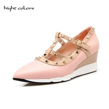 New 2017 Spring Fashion Ankle Strap Pointed Toe T Strap Rivet Side Empty Sexy Thin Heel Shoes Women High Heels Shoes FF1219