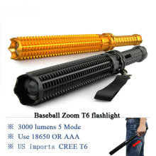 Baseball led flashlight cree xmL T6 Tactical lanterna waterproof torch 18650 Self Defence Glass Breaker penlight electric Torch