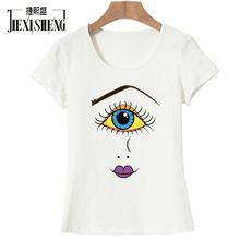 Buy Summer Women t shirt Fashion Funny eye printing t-shirt Short-sleeved O-neck Brand Tops Tees Woman clothing for $6.56 in AliExpress store