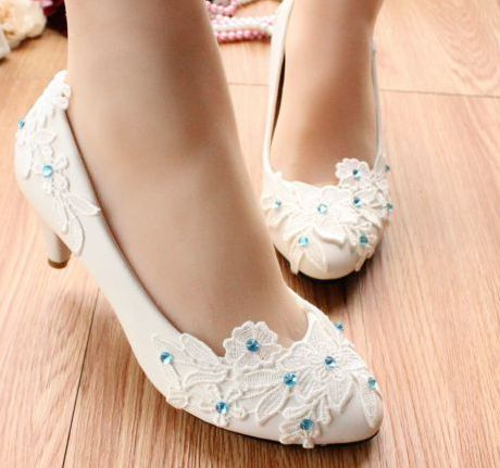 100% handmade wedding shoes white, lace blue patchwork fashion ladies white party pumps shoes, TG056 mid-heel dance shoes<br><br>Aliexpress