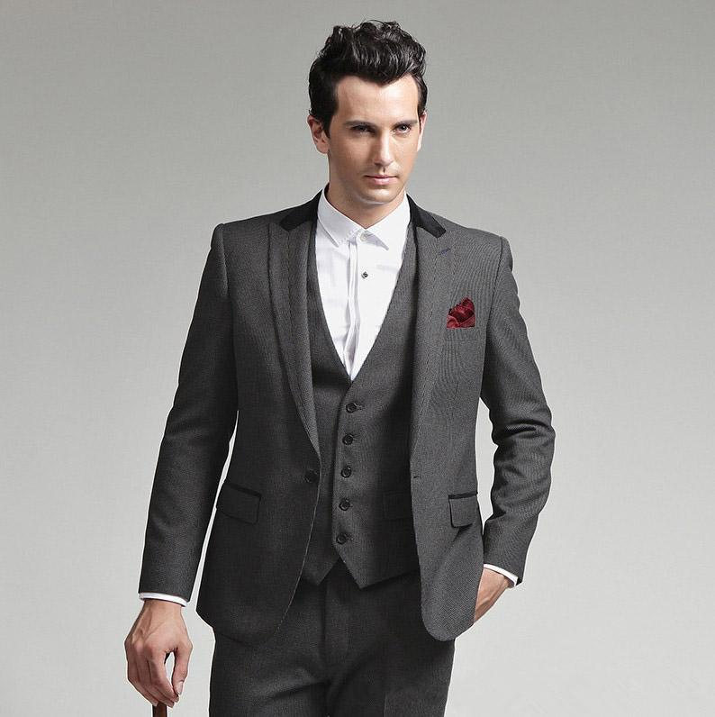 Customize made Hot Selling peak Lapel Grey Charcoal High quality Groom Tuxedos Suit Wedding Men's suits(Jacket+Pants+vest+Tie)