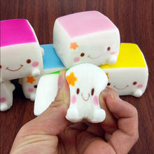 1Pcs Colorful Chinese Squishy Tofu Adorable Soft Expression Smile Face Fun Toys Hobbies Collectibel Lanyard Mobile Phone Strap(China)