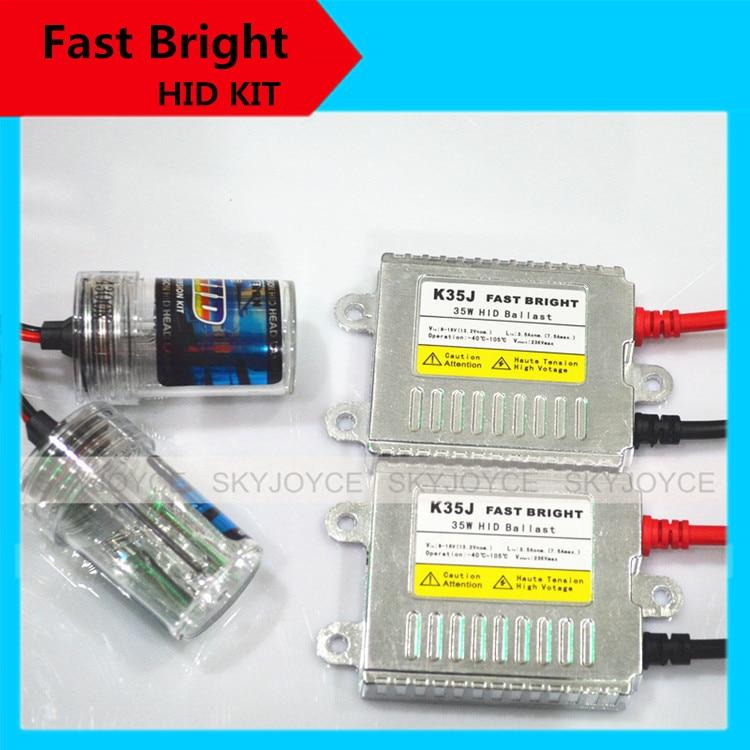 1 set  fast bright hid kit 35W 12V xenon white fast start H7 hid xenon kit H1 H3 H11 9005/6 880 H27 hid kit bright than halogen<br>