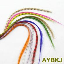10pcs/lot Colorful Grizzly synthetic Feather hair extensions 16 inch long with free beads(China)
