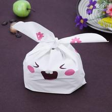 50pcs/lot Cute Rabbit Ear Biscuit Cookie Flat Bags Snack Baking Packaging Wedding Candy Gift Bag Party Supplies(China)