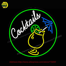 Cocktail And Martini Umbrella Cup Bar Neon Sign Tube vintage Art Sign Sign Handcrafted neon sign for Business Store Garage 26x26(China)
