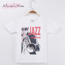 2017 Hot Sale Children Clothing Kids T-shirt Jazz Festival Print 100% Cotton Boys Short Sleeve T Shirts Baby Girl Clothes Tops(China)