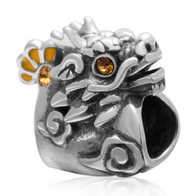 Fits Pandora bracelet Yellow zircon and yellow enamel dragon beads Charm 925 sterling silver DIY Making Wholesale