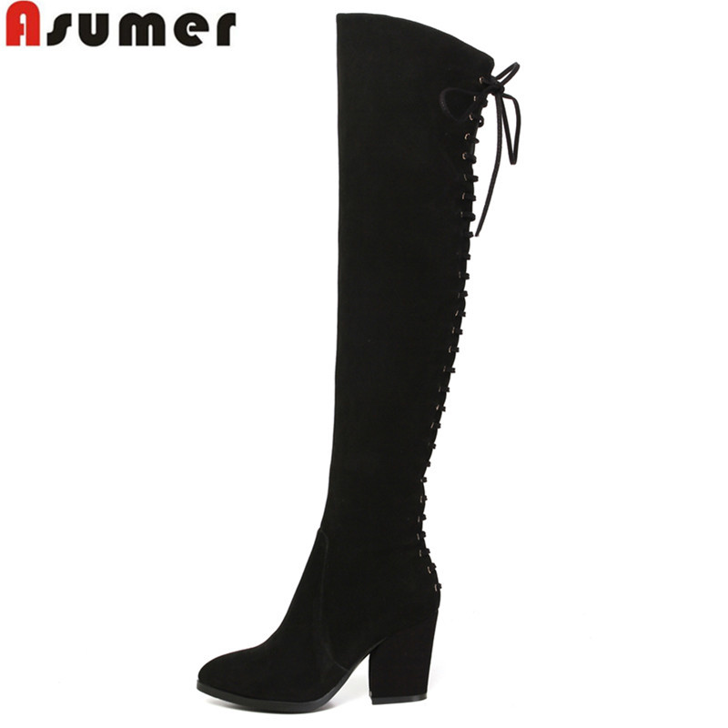 2016 new arrive high quality full genuine leather boots high heels winter women motorcycle boots over the knee high long boots<br><br>Aliexpress