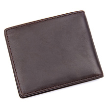 Augus Guaranteed Genuine Leather Classic Business Card Holder Trendy Man Cash Purses Short Fold Wallet R-8172-3Q/R-8172-2Q(China)