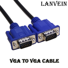 Brand 1PC Blue 1.5M 2m 3m 5m 15 PIN VGA HDB15 SUPER VGA SVGA M/M Male To Male Connector Cable Cord Extension Monitor FOR PC TV