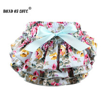 2018 New Floral cotton Baby Shorts Newborn diaper covers fashion ruffle baby bloomers Photo Props clothing YC003(China)