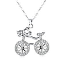Free Shipping Fashion 925 Sterling Silver Jewelry Creative Bicycle Pendant Necklace Women's personalized jewelry