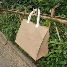 Water Proof Jute Tote Wholesale Blanks Natural Jute Beach Bag Large Shopping Tote Bag Coated Jute Hand Bag DOM106288(China)