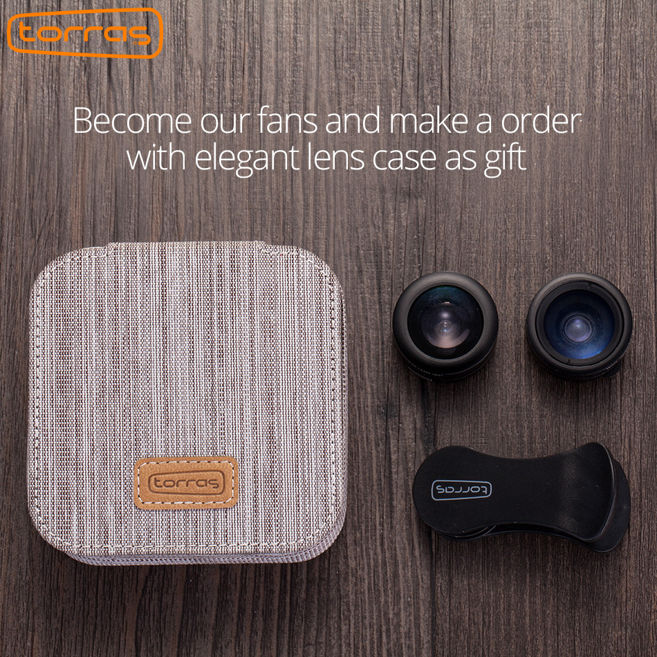 TORRAS Mobile Phone Lens Wide Angle Fish Eye Clip-on Alloy Metal Cell Phone Camera Lens Kit 15X Macro For iPhone Lens with Case 1