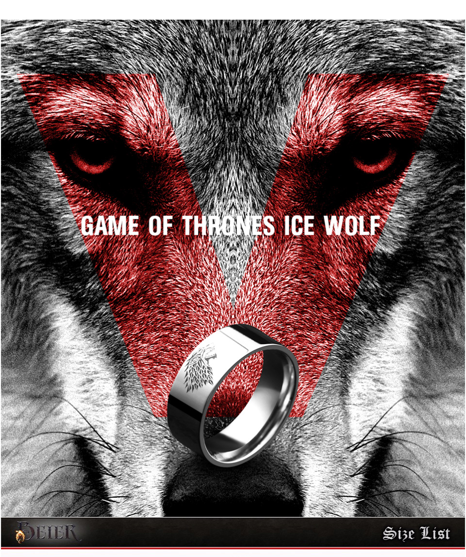 Stainless Steel ring Game of Thrones ice wolf House Stark of Winterfell men ring LUO001 24