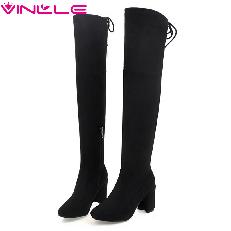 VINLLE 2018 Women Shoes Ankle Boots Square Med Heel Buckle Lace Up Casual PU leather Ladies Motorcycle Shoes Size 34-43<br>