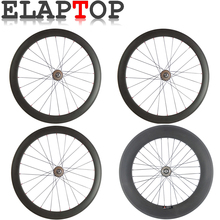 ELAPTOP 38 50 60 88mm Depth Clincher Tubular Track Fixed Gear Road Bike Racing Touring Rear Wheel Carbon Bicycle Wheels(China)