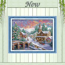 Snowscape,Counted Printed on fabric 11CT DMC 14CT Cross Stitch kit,needlework Set embroidery,Snow Winter Scenery Christmas Decor(China)