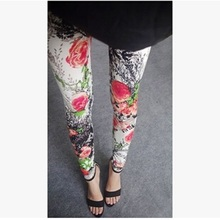 2017 Limited Mid Cotton  Leggings  Autumn New Large Size Printing National Wind Ink Painting Flowers Leggings