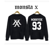 Kpop new idol group monsta x member name printing spring autum sweatshirt fans supportive o neck pullover hoodie