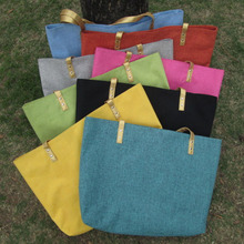 Free Shipping Large Eco Friendly Burlap Monogramable Tote bag Lined Bag Shopping Bag DOMIL1010131